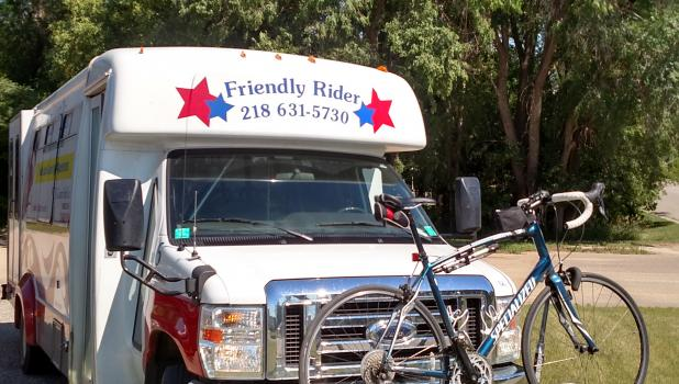 The familiar white transit bus provides rides for those who need transportation to and from appointments, shopping, dining, school and more. The bus is also equipped with a bike rack. In Staples, free transportation is offered to students involved in Summer Recreation, the Adventures programs and summer school. (Submitted photo)