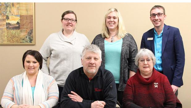 At the first meeting of the Discover Staples Tourism Board, six members posed for a photo while a seventh member, Mary Theurer, attended the meeting by a conference call. Seated, from left, are Melissa Radermacher, Chris Etzler and Brenda Halvorson. Standing, from left, are Tricia Jasmer, Samantha Fischer and Jordan Goodwater. (Staples World photo by Mark Anderson)