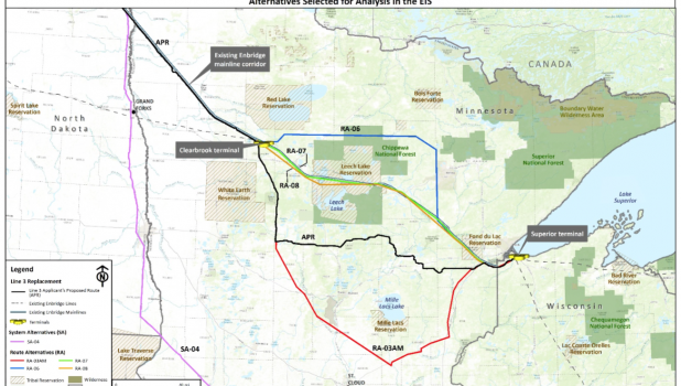 Enbridge's preferred route (APR), the black line, would dip down to the northern portion of Wadena County, then go straight east to Superior, Wisc. One of the alternatives, the red line, keeps going through Wadena County to the Staples area and then south of Motley and into the Lincoln Lakes area and past Little Falls before heading back up to Superior.