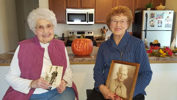 Rita Stone (left) and Rose Hoemberg donate to the Veterans Park. (submitted photo)