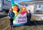 Bexley (left) and Marley Colsen of Cloquet (ages five and three respectively) had fun helping set up Easter decorations at the home of their great-grandparents, Swede and Chris Colsen, in Staples. The Colsens, whose home is located on 3rd Ave. NW, said they have inflatable decorations for every holiday. (Staples World photo by Dawn Timbs)
