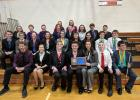 Staples-Motley Speech Team members competed in the Sub-Section Speech tournament April 7 in Menahga bringing home the second place trophy. (Submitted photo)